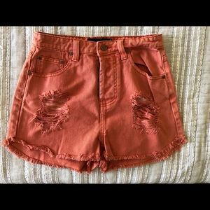 MinkPink Coral/Orange Denim Shorts